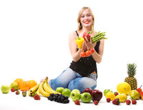 Healthy nutrition - Fruits, girl, vegetables Royalty Free Stock Photography
