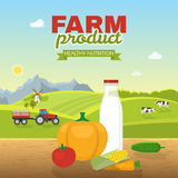Healthy Nutrition Poster. With dairy product and vegetables on wooden table farm landscape in background vector illustration Stock Photos