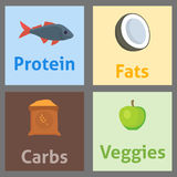 Healthy nutrition proteins fats carbohydrates balanced diet cooking culinary and food concept vector. Vegetables fruits meat organic eat gourmet balance energy vector illustration
