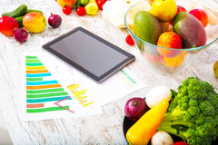 Healthy nutrition and tablet Royalty Free Stock Images