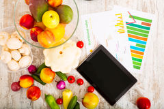 Healthy nutrition and tablet Royalty Free Stock Image