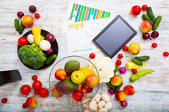 Healthy nutrition and tablet Stock Photography