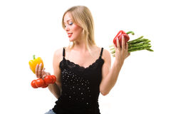 Healthy nutrition - woman with vegetables Stock Image