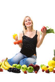 Healthy nutrition - woman with vegetables Royalty Free Stock Photos