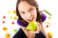 Healthy nutrition - young woman with fruits stock images
