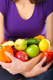 Healthy nutrition - young woman with fruits Royalty Free Stock Photos