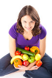 Healthy nutrition - young woman with fruits. Healthy eating, happy woman with fruits and vegetables Stock Image