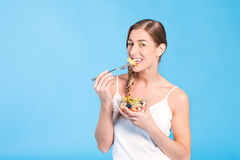 Healthy nutrition - young woman with fruits Stock Photo