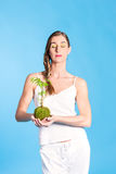 Healthy nutrition - young woman with salad Stock Image