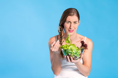 Healthy nutrition - young woman with salad Royalty Free Stock Photo