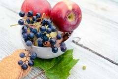 Healthy and nutritious breakfast - bowl full of fruit and berries stock image