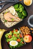 Healthy and nutritious lunch or snack boxes with food royalty free stock image