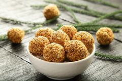 Healthy nutritious Sesame seed balls in a white bowl Stock Photography