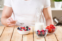 Healthy and nutritious yogurt with cereal and fresh raw berries. Healthy and nutritious organic yogurt with cereal and fresh raw berries Stock Photo