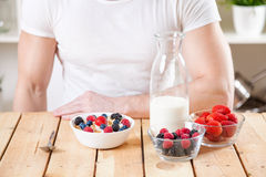 Healthy and nutritious yogurt with cereal and fresh raw berries. Healthy and nutritious organic yogurt with cereal and fresh raw berries Royalty Free Stock Image
