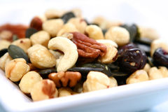 Healthy nuts in a bowl stock images