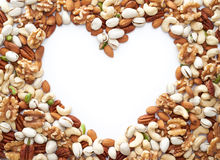Healthy Nuts Framing a Heart Shape Royalty Free Stock Photo