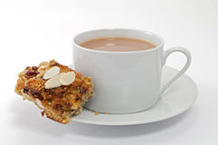 Healthy Oat Cake with a Cup of Tea Stock Photo