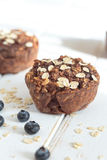 Healthy Oat muffin with blueberries for breakfast. Royalty Free Stock Image
