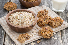 Healthy oatmeal cookies and a glass of milk, top view Royalty Free Stock Image