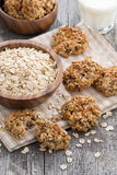 Healthy oatmeal cookies and a glass of milk, vertical Royalty Free Stock Photography