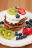 Healthy Oatmeal Pancakes. With fresh fruit stock image