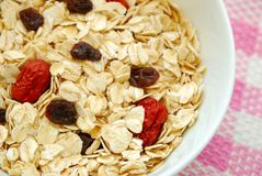 Healthy oatmeal with raisins and dates Royalty Free Stock Image