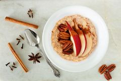 Healthy oatmeal with red pear, pecans and cinnamon, overhead scene Royalty Free Stock Images