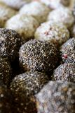 Healthy oats balls with chia seeds and coconut toppings. royalty free stock image