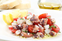 Healthy octopus salad- traditional dish from Portugal Royalty Free Stock Photo