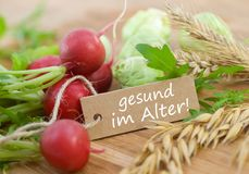 Healthy in old age. Label with german text: Healthy in old age Royalty Free Stock Image