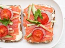 Healthy open sandwiches stock photos