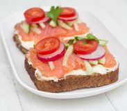 Healthy open sandwiches stock photography