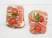 Healthy open sandwiches royalty free stock images