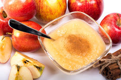 Healthy Organic Applesauce with Cinnamon Stock Photo
