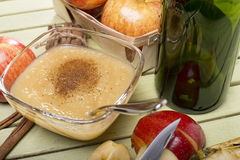 Healthy Organic Applesauce with Cinnamon. In a Bowl Royalty Free Stock Images