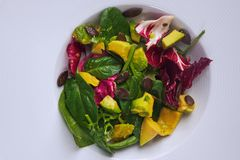 Healthy organic Avocado spinach salad stock image