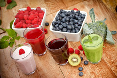 Healthy organic beverages - drinks Royalty Free Stock Photos