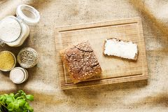 Healthy organic bread on wooden cutting board country side bakery stock images