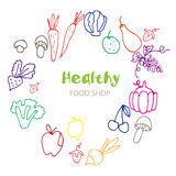 Healthy Organic eco vegetarian food. Logo design vector template Royalty Free Stock Photos