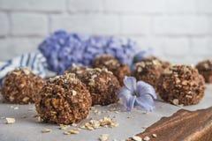 Healthy organic energy granola balls Stock Photos