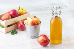 Healthy organic food. Apple cider vinegar in glass bottle. Healthy organic food. Apple cider vinegar in glass bottle and fresh red apples on a light background royalty free stock photography