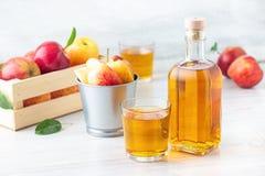 Healthy organic food. Apple cider vinegar in glass bottle. Healthy organic food. Apple cider vinegar in glass bottle and fresh red apples on a light background stock image