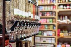 Healthy organic food in bio shop, interior Royalty Free Stock Image