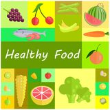 Healthy Organic Food Cartoon Illustrations Set Royalty Free Stock Images