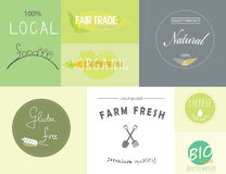 Healthy organic food labels and logos Stock Photos
