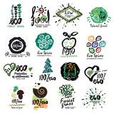 Healthy organic food labels for vegetarians logo. Restaurant, vegetarian cafe menu sign, symbol. Royalty Free Stock Image