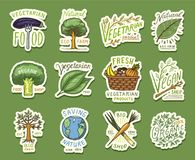 Healthy Organic food logos set or labels and elements for Vegetarian and Farm green natural vegetables products, vector. Illustration. badges healthy life royalty free illustration
