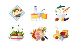 Healthy organic food set, diet menu, dairy, vegetable and meat products vector Illustration on a white background. Healthy organic food set, diet menu, dairy vector illustration