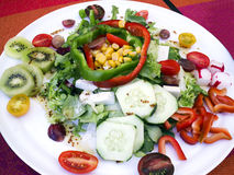 Healthy organic fresh salad of pepper, cucumber, radish, tomato, cheese. Colorful plate of fresh mixed salad of goat cheese chunks, sliced cucumber, tomato stock image